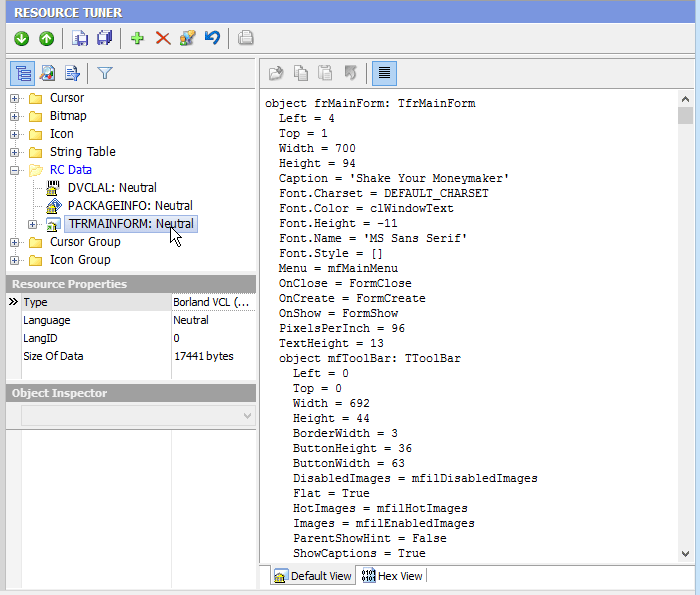 Resource Editor: How To Edit A Delphi Form (RCData) in